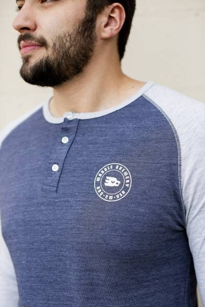 3/4 Sleeve Raglan Henley - close view men's
