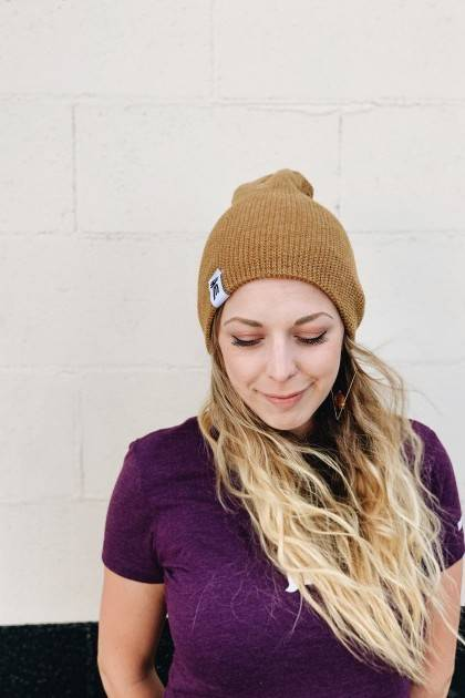 reversible marble beanie slouch front