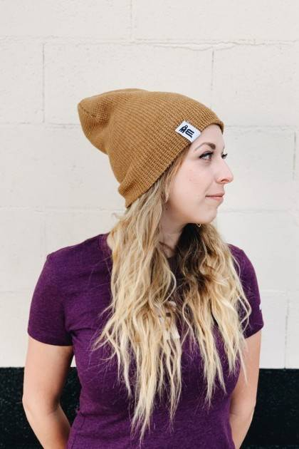 reversible marble beanie slouch side