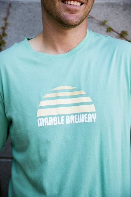 marble agave sunset tee close up view