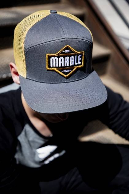 Black-Gold Patch Hat - detail