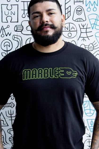 marble brewery black neon tee detail view