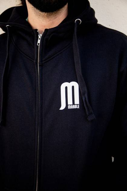 Marble Unisex Black Zip Up Hoodie - Detail