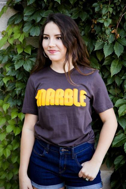 marble brown retro tee front view women's