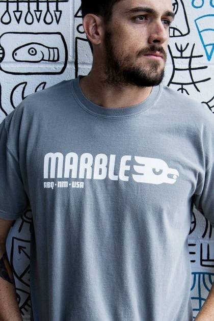 marble brewery classic gray tee detail view
