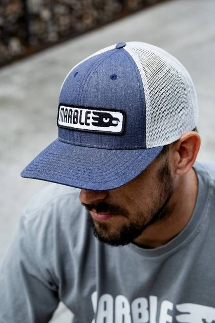 marble brewery denim horizontal patch hat front view