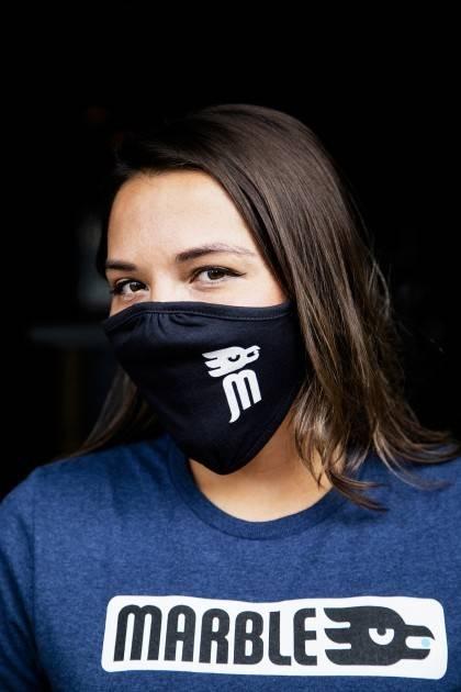 marble face mask - female - side