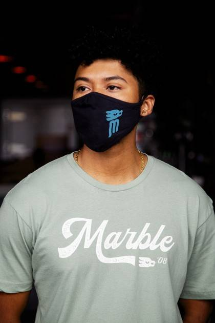 marble face mask blue and black - male - side