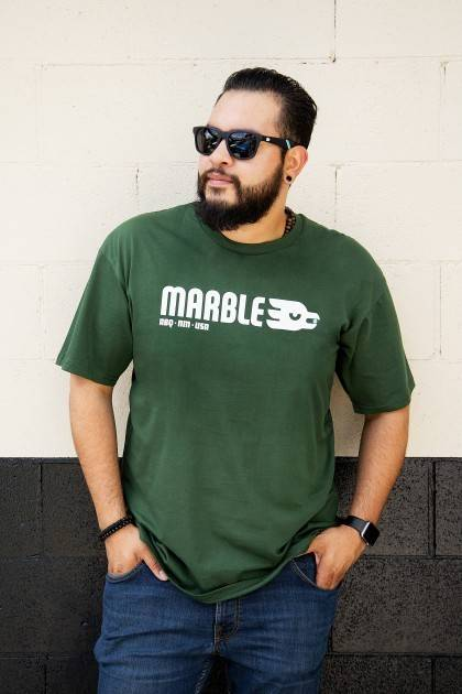 marble classic forest green tee front view