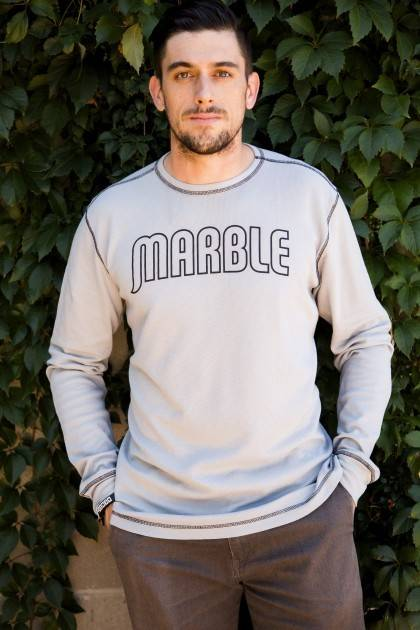 marble grey long sleeve thermal front view
