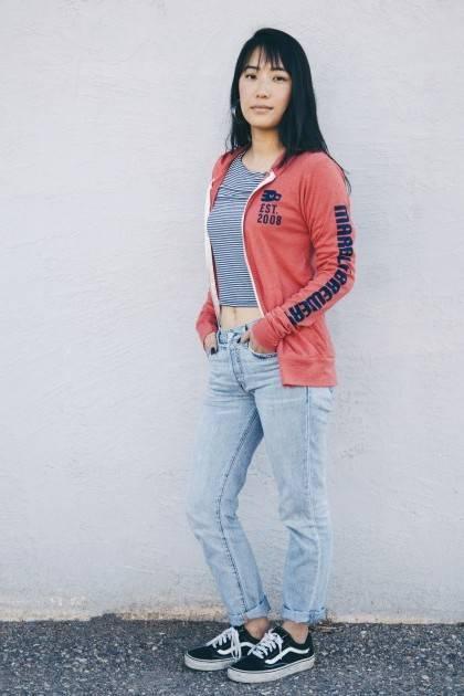 marble red heathered zip up hoodie side view