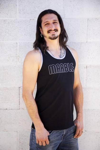 Men's Black Marble Tank-Side