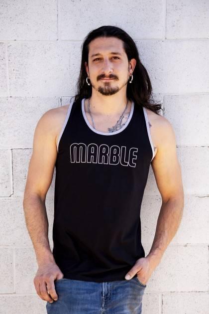 Men's Black Marble Tank-Front