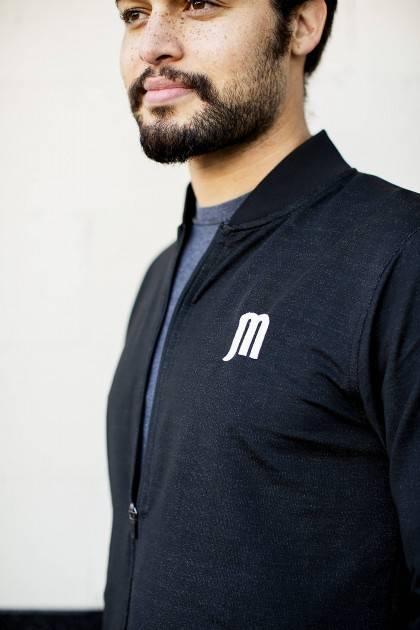 marble brewery men's zip up - close view