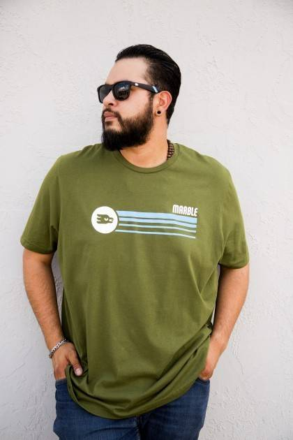 marble retro green horizontal tee front view