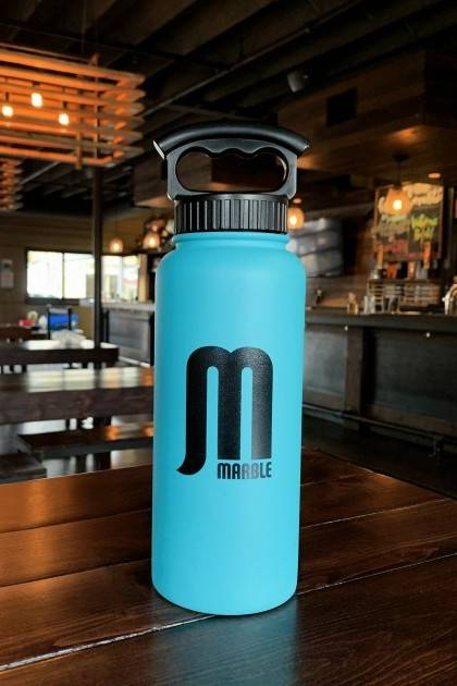marble 34oz teal insulated growler front view