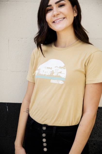 marble vintage gold cityscape tee detail view