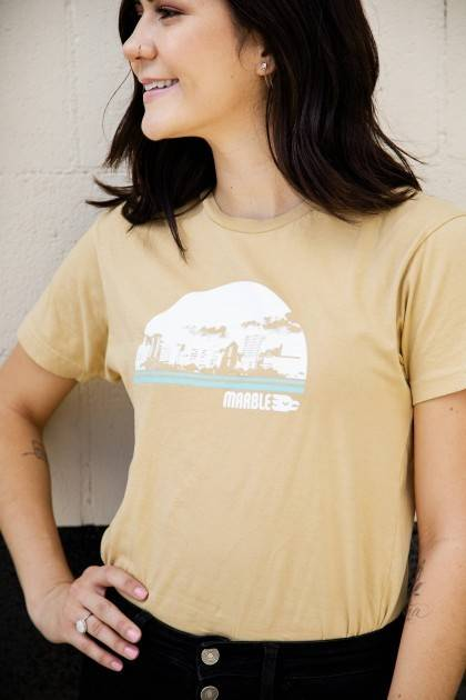 marble vintage gold cityscape tee front view women's