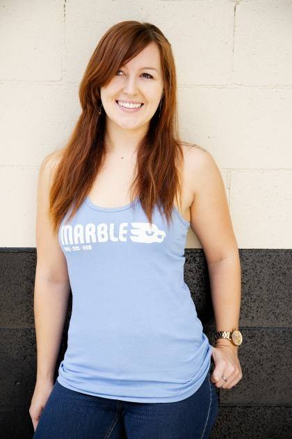 marble women's classic blue tank front view