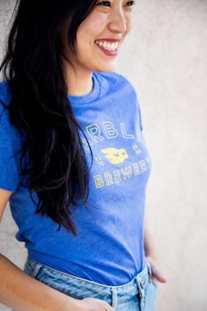 Women's Tri-blend Blue Tee - Detail 5'3